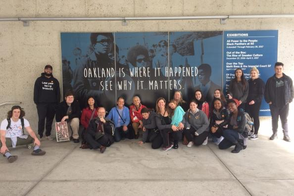 Students and faculty at the Oakland Museum of Modern Art
