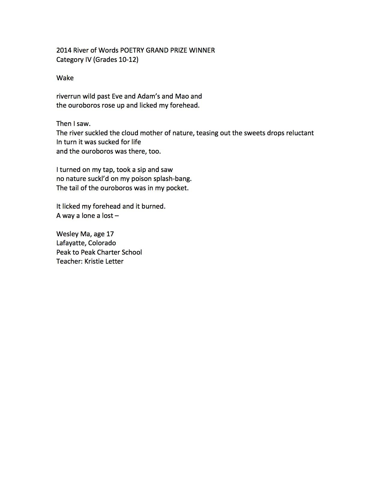 2015 Poetry to come These are the 2014 Poetry Finalists and – Prize Winner Letter Template
