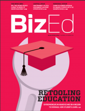 BizEd Magazine's RETOOLING EDUCATION edition, which includes a spotlight on SEBA's Digital Drivers License teaching initiative.