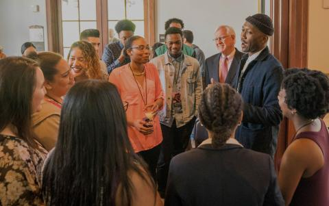 Academy Award-winning actor Mahershala Ali '96 meets with High Potential students and President James Donahue for a small reception. An alum of SMC and the HP program, Ali returned to the campus to screen the film Moonlight and honor and encourage current HP students