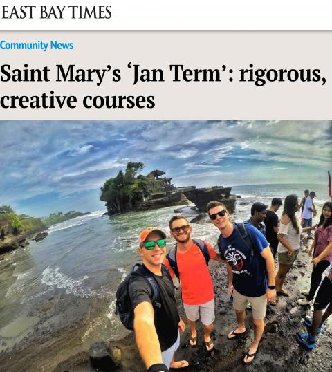 """The East Bay Times story """"Saint Mary's 'Jan Term': rigorous, creative courses"""" carries a photo from a Jan Term travel course to Bali, Indonesia."""