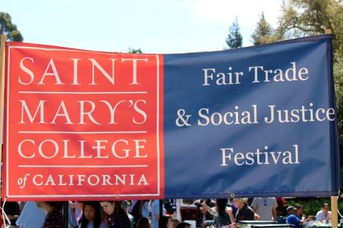 """Saint Mary's College banner says """"Fair Trade and Social Justice Festival"""""""